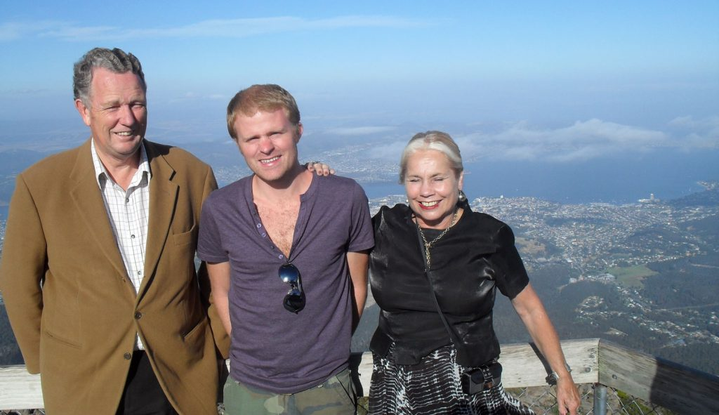 Atop Mount Wellington with my aunt and uncle