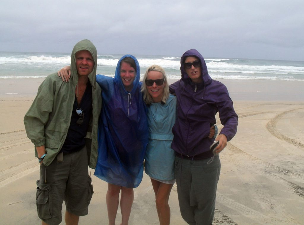 Me with Sophie, Mary and Esther on a very wet Fraser Island!